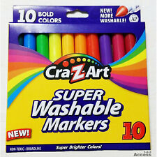 3 Packs of 10 CraZart Super Washable Markers Bold Colors Markers Non-Tooxic 30Ct