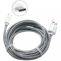 BRAIDED 6FT LONG TYPE-C USB CABLE FAST CHARGER POWER CORD USB-C DATA SYNC WIRE