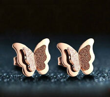 ROSE GOLD STAINLESS STEEL BUTTERFLY STUD EARRINGS