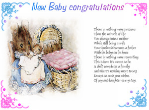 15 x New Baby verse inserts  for A6 cards  NEW DESIGN