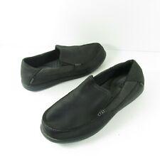 Men's 11 - CROCS Santa Cruz 2 Luxe Black Leather Moc Toe Loafers Shoes 202221