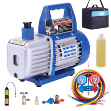 4 Cfm Vacuum Pump Hvac Refrigeration Ac Manifold Gauge R134a R502 Kit Etl Listed