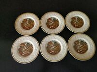 6 ANTIQUE 1930s  BOOTHS CORINTHIAN FARM SCENE COTTAGE BREAD PLATES  TRANSFERWARE