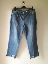 Next Ladies Denim Jeans UK 14 Boyfit Ankle Grazers Mid Blue Frayed Hems