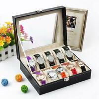 10 Slots Watch Box Leather Display Case Organizer Glass Jewelry Storage Black US