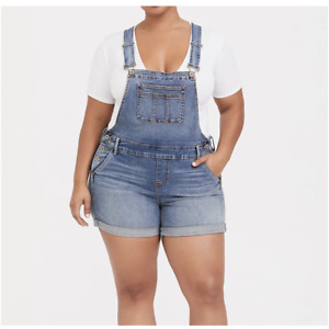 """Torrid 5"""" Shortalls in Medium Wash Women's Size 18 New With Tags"""