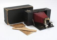 KODAK NO. 3A FOLDING BROWNIE, BURGUNDY BELLOWS, INCOMPLETE BOX, AS-IS/cks/200275