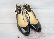 Cole Haan EUC Womens 9B Black Patent Leather Pumps Heels Shoes NikeAir Peep Toe