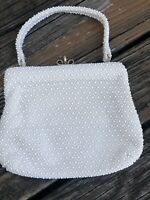 Vintage Lumured Cream Ivory Corde Beaded Purse Handbag Evening Bag Vtg 50s 60s