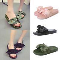 Women Girls Open Toe Bow Slide Slip On Summer Fashion Flat Sandal Shoes Slippers