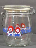 Raggedy Ann Yum Yum vintage treat jar USA Raggedy Ann and Andy Carlton Glass