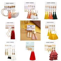 6Pairs Boho Tassel Crystal Pearl Earrings Set Women Ear Stud Dangle Jewelry