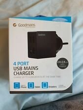 Goodmans 4 Port USB Main Charger Fast Charge Black New Boxed
