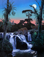 Two leopards pass the waterfall Oil painting Giclee Art printed on canvas L2438