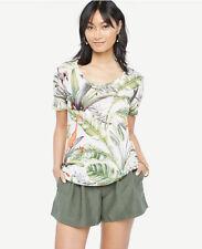 Ann Taylor - XL (16) Cream Scoop Neck Linen Tropical Print Sunday Tee (T9A)