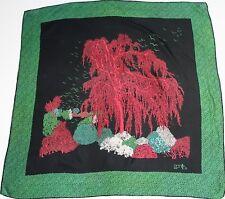 Modalità Zenith-nero anni'70-VINTAGE SILK SCARF-VERDE / ROSSO Willow Tree-LARGE