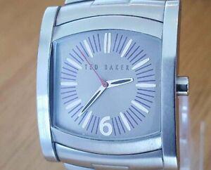 Mens Classic Retro Steel Bracelet Ted Baker TB292 Silver Purple Analog Watch