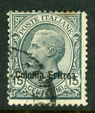 Italy 1920 Eritrea 15¢ Slate SG # 37 VFU D825 ⭐⭐⭐⭐⭐⭐