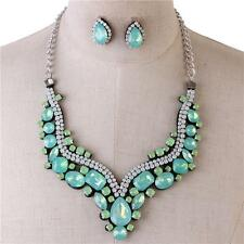 LUSH Statement Silver Pacific Opal Crystal Necklace & Earrings By Rocks Boutique