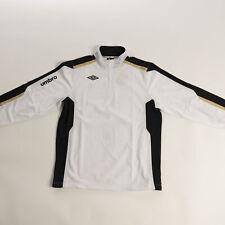 Umbro Men's 1/2 Zip Sweatshirt White/Black/Gold Training Jersey Activewear