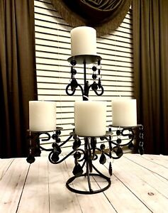 Beautiful Wrought Iron Black Metal Crystals 5 Tiered Pillar Candle Holder