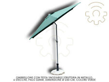 Parasol Head Jointed Green Colour ø 230cm 6 Planks Crank Opening Chi