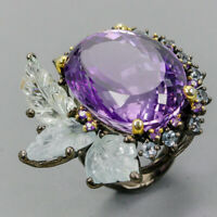 Amethyst Ring Silver 925 Sterling Handmade75ct+ Size 9.5 /R130425