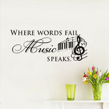 Black Words Where Words Fall Wall Sticker Music Speaks Vinyl Home Art Decals