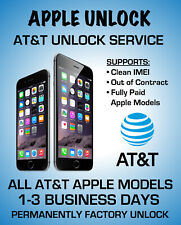 AT&T UNLOCK SERVICE FOR IPHONE, XS XR X 8 8+ 7+ 7 6+ 6 CLEAN IMEI