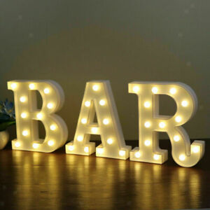 3PCS LED Marquee Letter Night Light Alphabet Light Up BAR Sign Party Chic Shabby