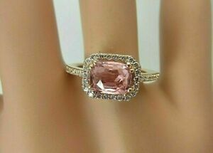2.20Ct Cushion Cut Pink Sapphire Wedding Valentine Gift Ring 14k Rose Gold Over