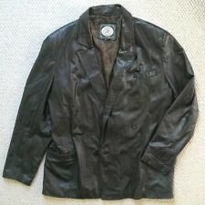 Cougar International Men's Black Leather Jacket Size XL Double Breasted Coat