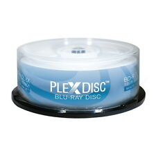 25 PlexDisc BluRay Dual Layer 6X Blank BD-R DL 50GB White Inkjet Hub Printable
