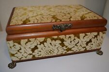 Mid Century Victorian Floral Hippie Library Lion Legged Jewelry Box VTG 50s 60s