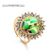 14K Gold Plated Green Made W/Swarovski Resizable Crystal Ring (R520-29)