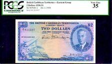"BRITISH CARIBBEAN TERRITORIES P2  ""MAP NOTE"" $2 1950 PCGS 35 ""KING GEORGE Vth"""