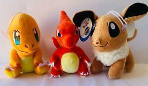 POKEMON Charmander Charmeleon Eevee Character Plush Soft Toys 25cm FREE POST