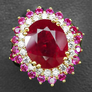 Ruby Blood Red Oval 10.50 Ct. Sapp 925 Sterling Silver Gold Ring Size 6.5 Women