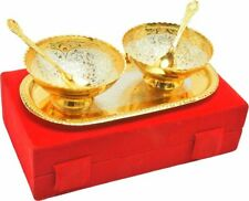 Indian Brass Silver Gold Plated Engraved Xmas New Year Serving Tray Gift Set 5pc