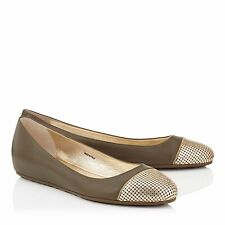 JIMMY CHOO WaiIne Gold Chain Cap Toe Leather Ballet Flats Sz 37.5/7.5