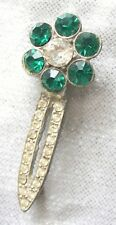 Elegant Art Deco Green & Crystal Rhinestone Silver-tone Brooch  1920s Vintage