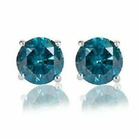 Valentine Special 1.00CT Round Blue Diamond 14K White Gold Over Stud Earrings