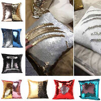 Mermaid Magic Pillow Case Reversible Sequin Swipe Glitter Sofa Cushion Cover