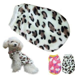Small Pet Dog Puppy Cat Soft Warm Coral Fleece Jumper Jacket Vest Leopard Hearts