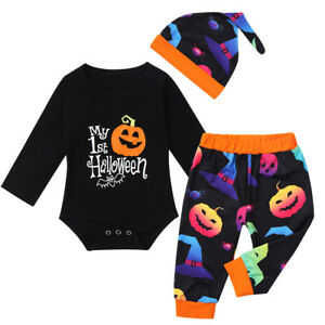 Newborn Baby Boys Girls Romper 1st Halloween Jumpsuit Outfits Playsuit Clothes