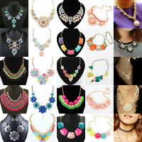 Charm Women Fashion Pendant Statement Crystal Bib Choker Chain Necklace Jewelry