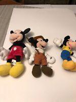 Lot Of Three Mickey Mouse Plush Dolls Disney Mattel