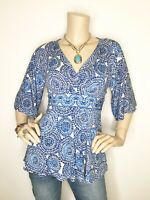 Boston Proper Size 0 Blue White Mandala V Neck 3/4 Sleeve Top Shirt Blouse Tunic