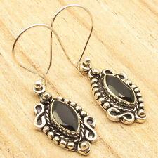 "BLACK ONYX Gem Earrings 1 5/8"" ! Silver Plated Fashion Jewellery"