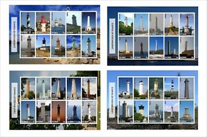 2010 LIGHTHOUSES OF FRANCE 4 SOUVENIR SHEETS MNH UNPERFORATED LIGHTHOUSE